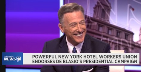 President Peter Ward's interviewed on NY1 about HTC's endorsement of Mayor de Blasio for President